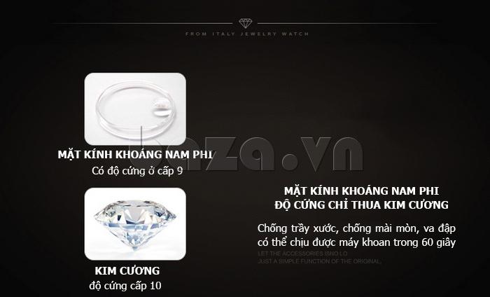 Đồng hồ nữ dây đeo gốm sứ Royal Crown 63806C - kính khoáng nam phi