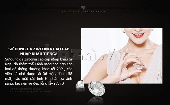 Đồng hồ nữ dây đeo gốm sứ Royal Crown 63806C - đá Zirconia cao cấp
