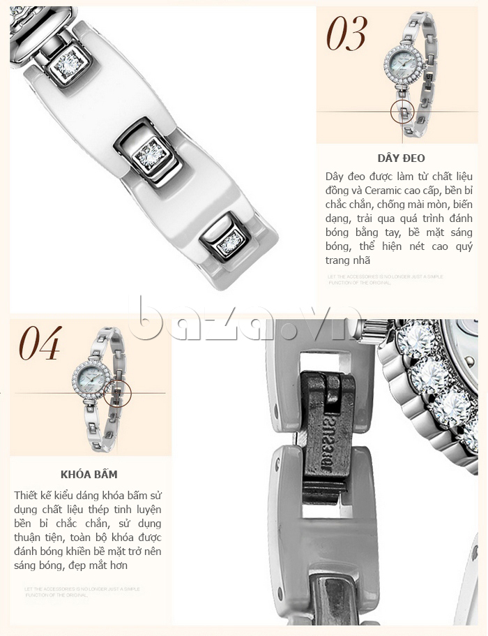 Đồng hồ nữ dây đeo gốm sứ Royal Crown 63806C cuốn hút