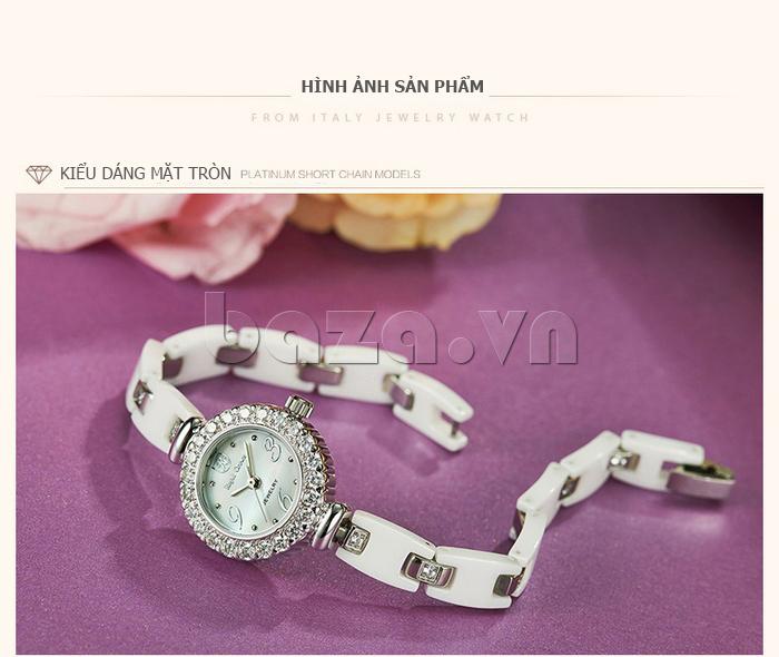 Đồng hồ nữ dây đeo ceramic Royal Crown 63806C