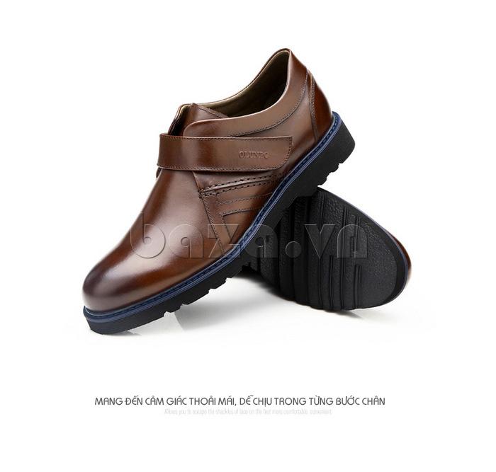 Giày da nam Olunpo khóa dán QLXS1406 - thoải mái trên từng bước chân