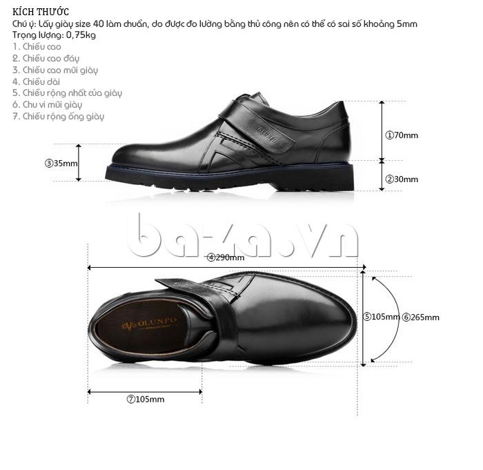 Giày da nam Olunpo khóa dán QLXS1406 phù hợp với mọi quý ông