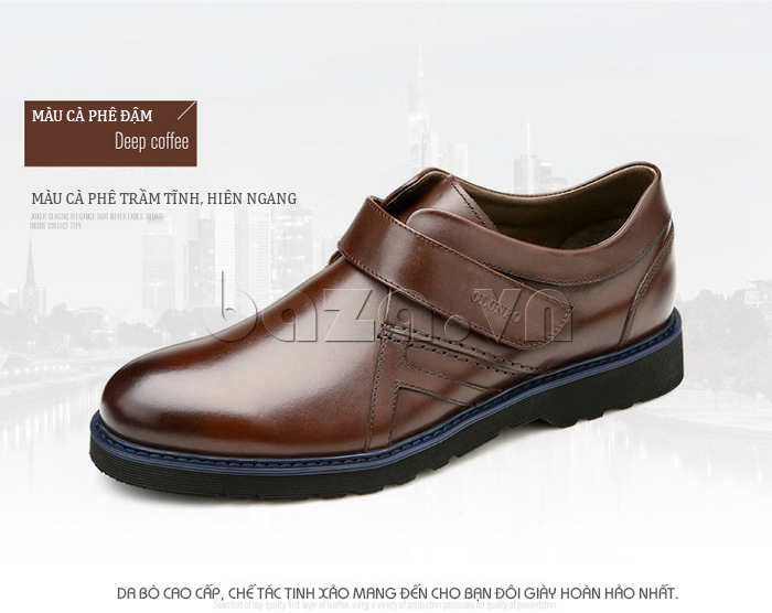 Giày da nam Olunpo khóa dán QLXS1406 màu nâu trầm tĩnh, hiên ngang