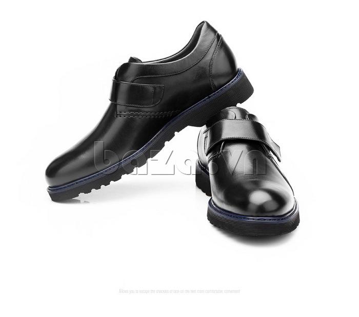 Giày da nam Olunpo khóa dán QLXS1406 thời trang