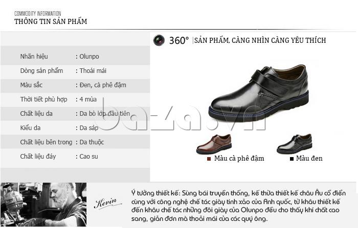 Thông tin sản phẩm Giày da nam Olunpo khóa dán QLXS1406