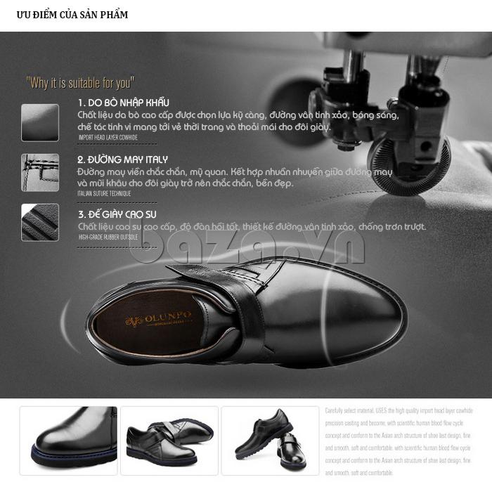 Giày da nam Olunpo khóa dán QLXS1406 dành cho bạn