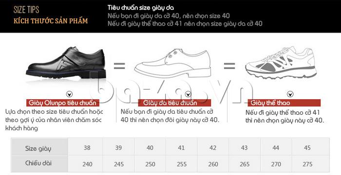 Giày da nam Olunpo khóa dán QLXS1406 có đủ mọi kích cỡ