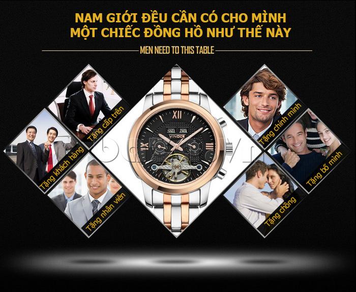 Đồng hồ cơ nam Vinoce 633227 lạ