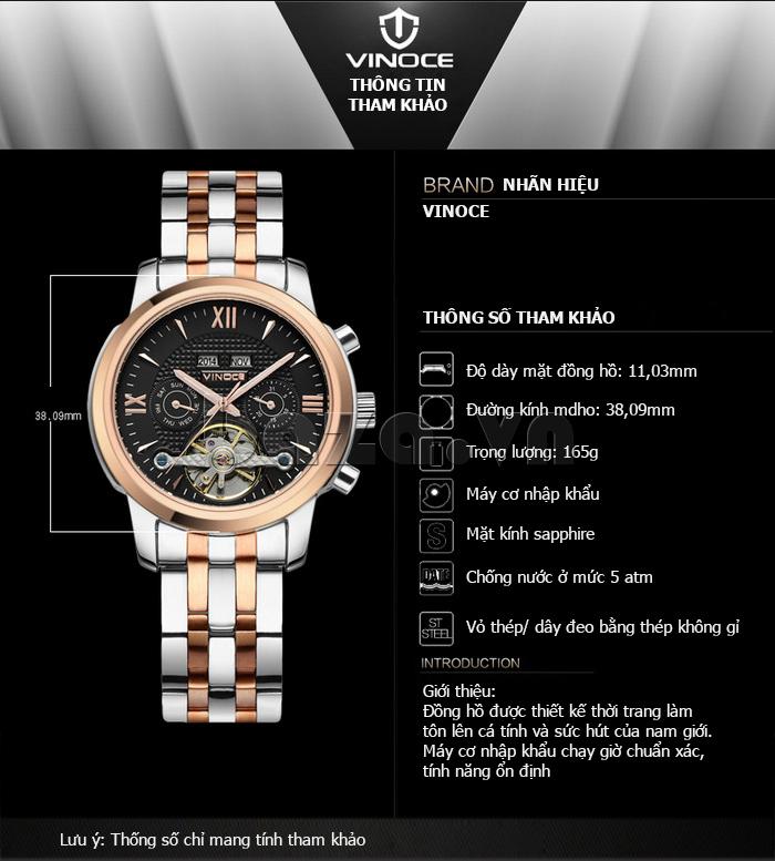 Đồng hồ cơ nam Vinoce 633227 chất lượng