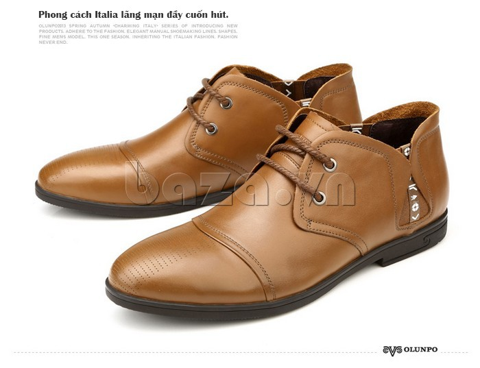 giày nam Olunpo QDT1303 phong cách Italia lãng mạn đầy cuốn hút với giày nam Olunpo