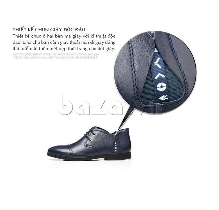 giày nam Olunpo QDT1303 được thiết kế tinh tế phần chun giày độc đáo ở hai bên má giày