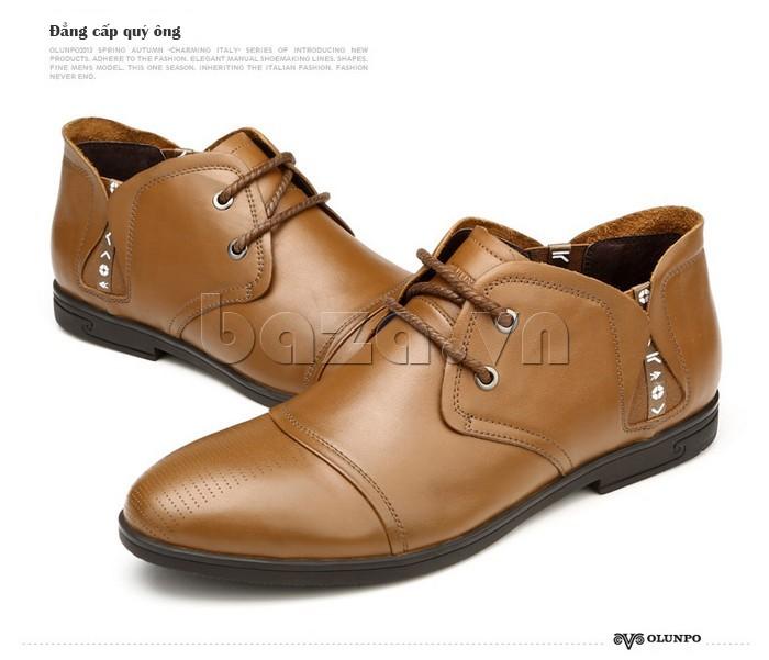 giày nam Olunpo QDT1303 màu nâu thể hiện đẳng cấp quý ông
