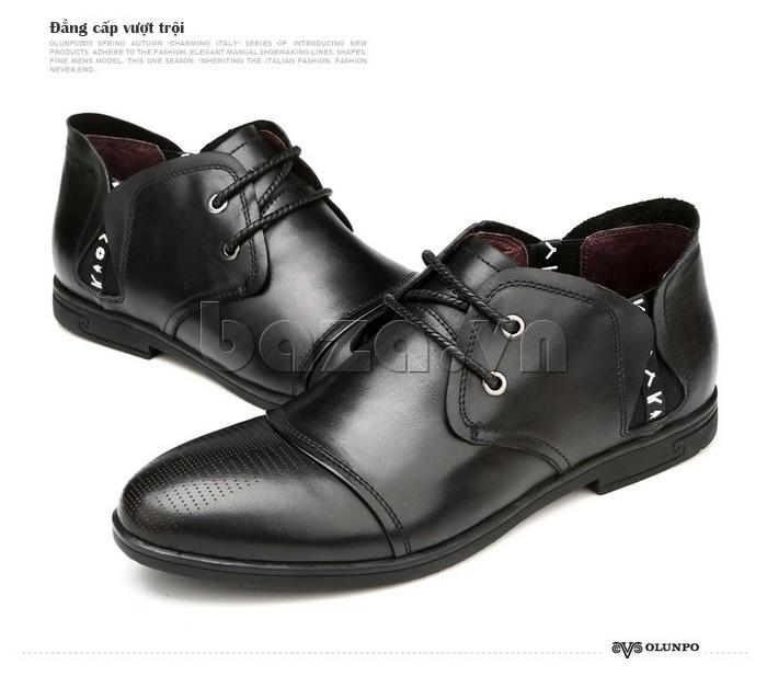 giày nam Olunpo QDT1303 màu đen thể hiện đẳng cấp vượt trội