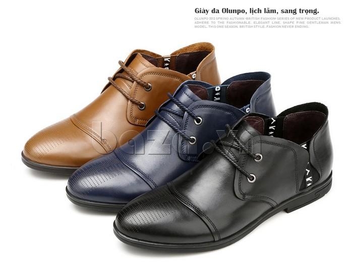 giày nam Olunpo QDT1303 có những màu sắc sang trọng và lịch lãm như nâu, đen, xanh