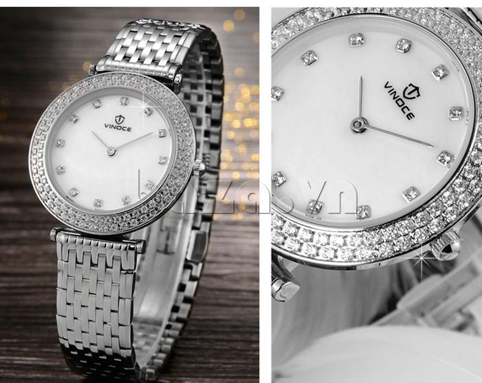 mặt Đồng hồ nữ siêu mỏng Vinoce 6323l màu trắng