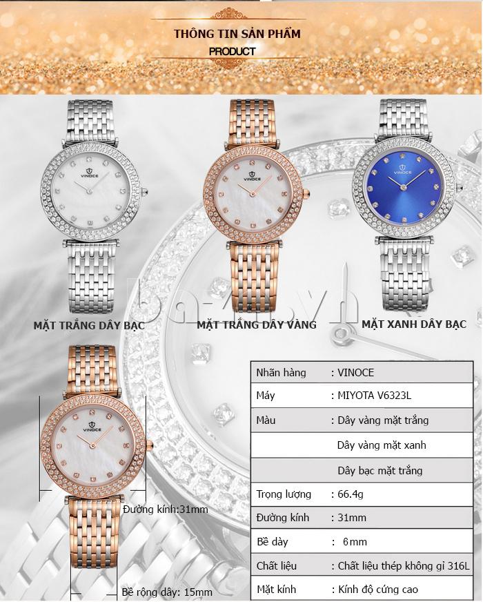 thông tin về Đồng hồ nữ siêu mỏng Vinoce 6323l
