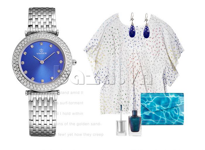 phối phụ kiện với Đồng hồ nữ siêu mỏng Vinoce 6323l màu xanh bạc