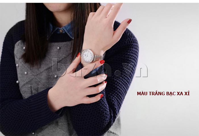 Đồng hồ nữ siêu mỏng Vinoce 6323l màu trắng bạc xa xỉ