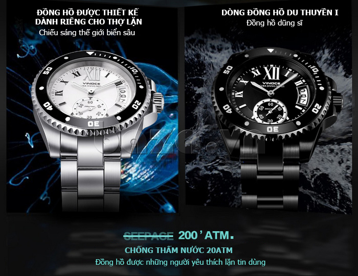Đồng hồ nam mạnh mẽ Vinoce V6338633 viền khắc số phong cách