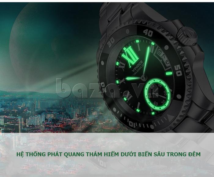 Đồng hồ nam mạnh mẽ Vinoce V6338633 viền khắc số thiết kế đẹp