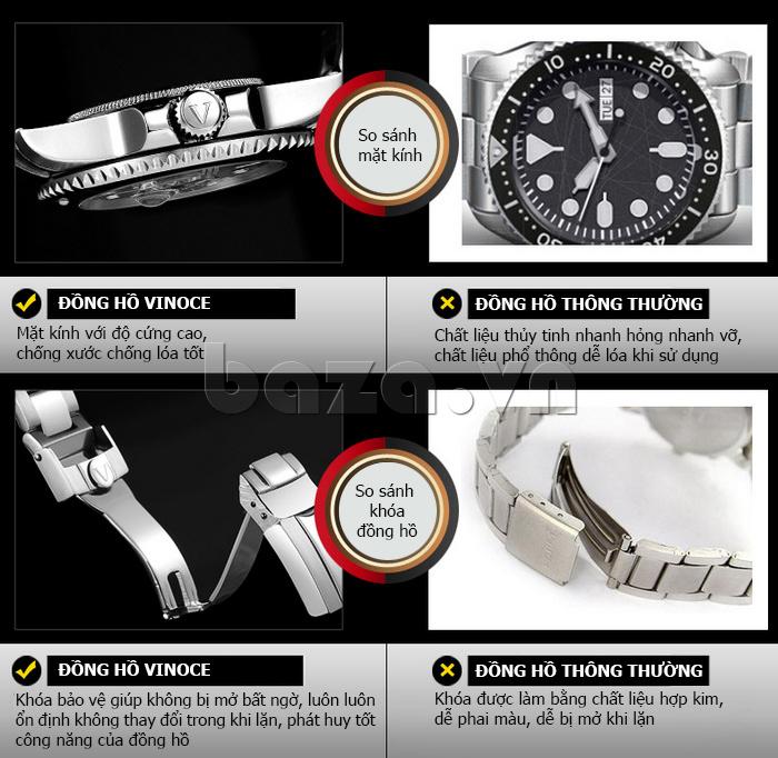 Đồng hồ nam mạnh mẽ Vinoce V6338633 viền khắc số thiết kế độc và đẹp