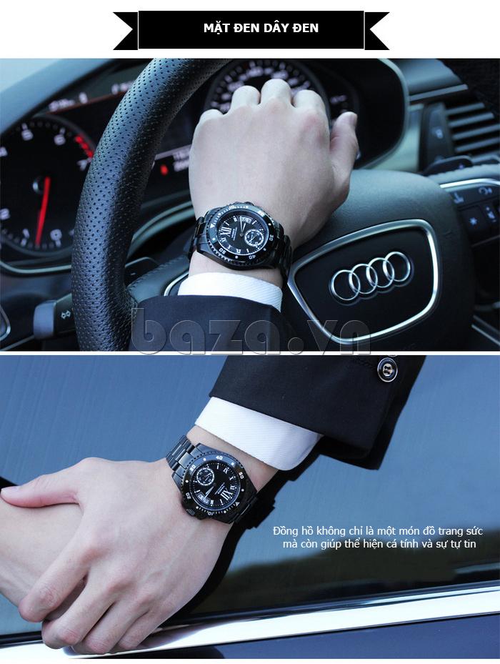 Đồng hồ nam mạnh mẽ Vinoce V6338633 viền khắc số bền