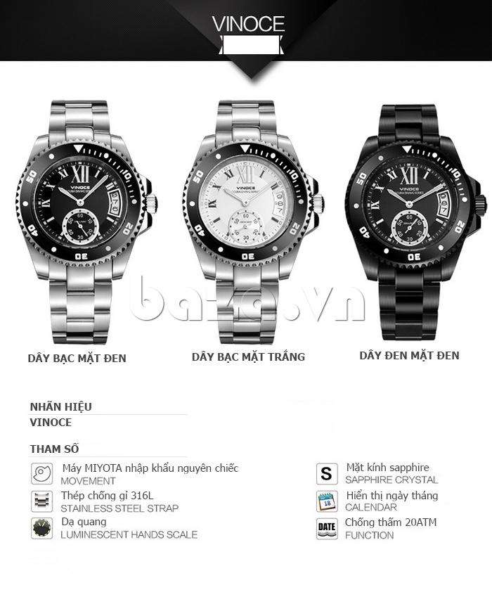Đồng hồ nam mạnh mẽ Vinoce V6338633 viền khắc số chính hãng