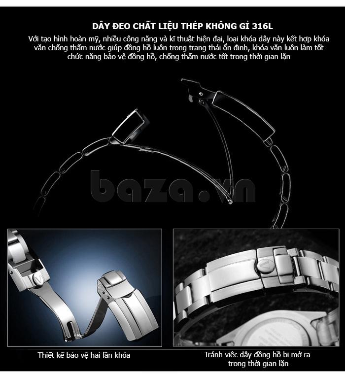 Đồng hồ nam mạnh mẽ Vinoce V6338633 viền khắc số thiết kế hot