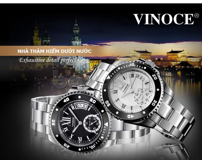 Đồng hồ nam mạnh mẽ Vinoce V6338633 viền khắc số  độc