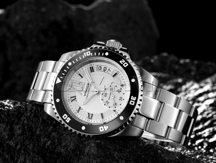 Đồng hồ nam mạnh mẽ Vinoce V6338633 viền khắc số thiết kế chất lượng