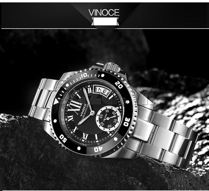 Đồng hồ nam mạnh mẽ Vinoce V6338633 viền khắc số thiết kế nổi bật