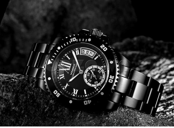 Đồng hồ nam mạnh mẽ Vinoce V6338633 viền khắc số thiết kế bền