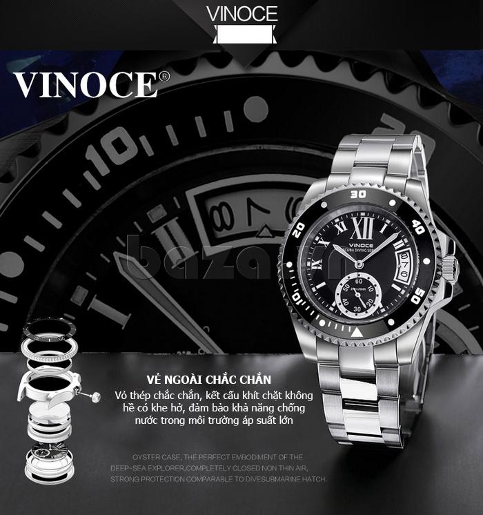 Đồng hồ nam mạnh mẽ Vinoce V6338633 viền khắc số bền đẹp