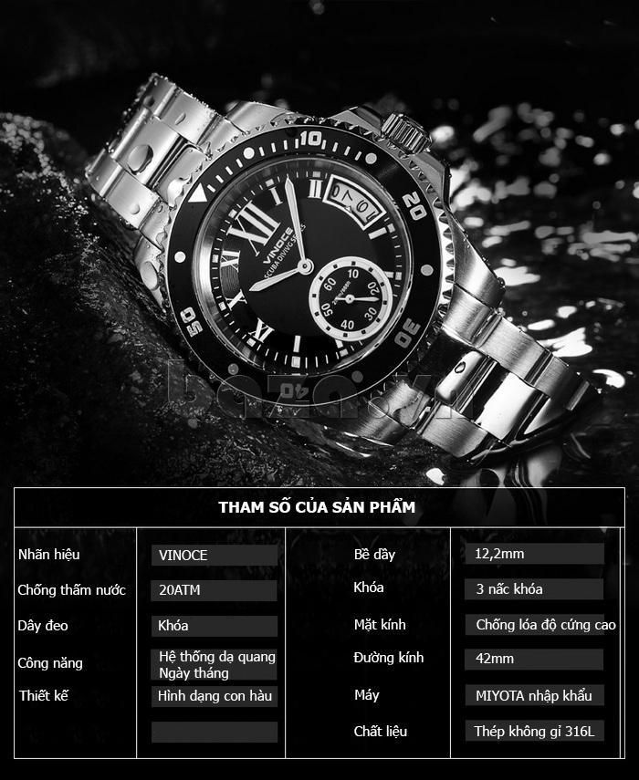 Đồng hồ nam mạnh mẽ Vinoce V6338633 viền khắc số ấn tượng