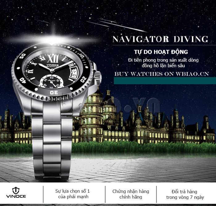 Đồng hồ nam mạnh mẽ Vinoce V6338633 viền khắc số