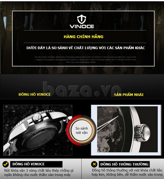 Đồng hồ nam mạnh mẽ Vinoce V6338633 viền khắc số thiết kế cao cấp và đẹp