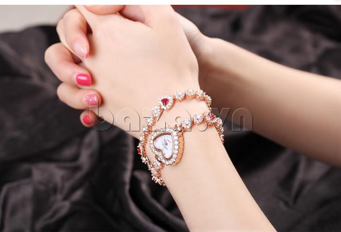 Đồng hồ nữ mặt trái tim Vinoce V633248G tôn thêm vẻ nữ tính cho bạn gái