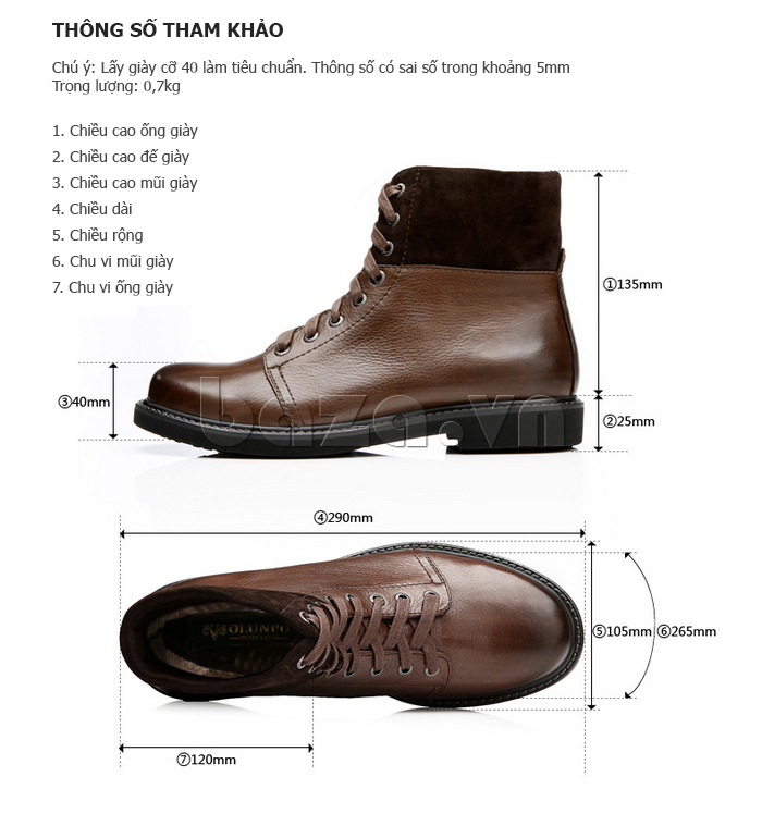 Giày nam cao cổ Olunpo DLY1206