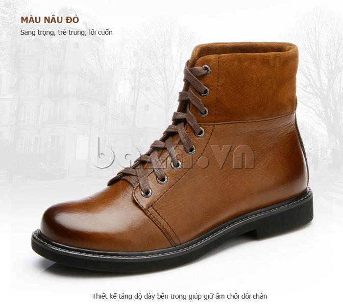 Giày nam cao cổ Olunpo DLY1206 màu nâu đỏ trẻ trung