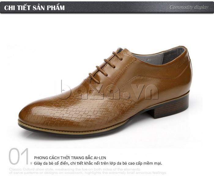 Giày da nam Olunpo QABA1226 phong cách thời trang Bắc Ai len