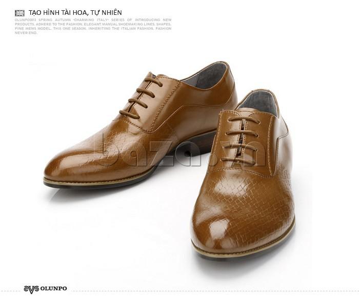 Giày da nam Olunpo QABA1226 tạo hình tài hoa, tự nhiên