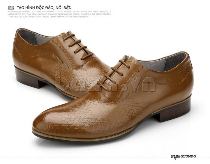 Giày da nam Olunpo QABA1226 tạo hình độc đáo, nổi bật