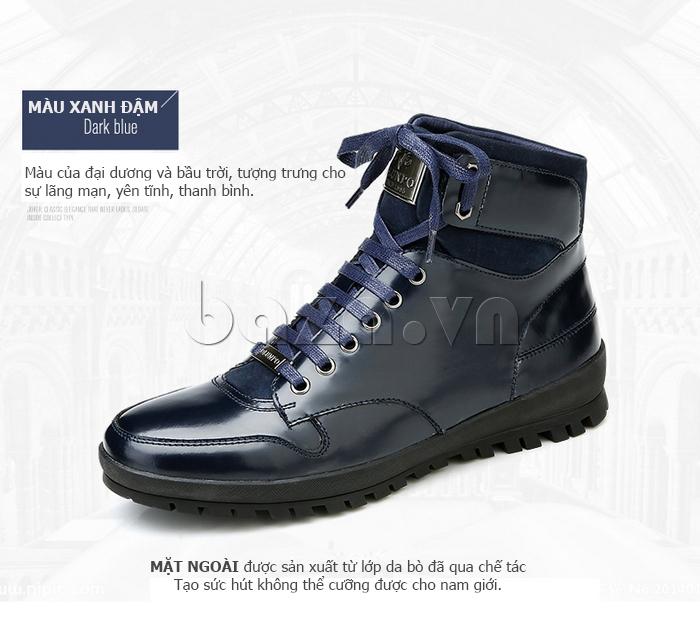 Giày da nam Olunpo DHT1443 xanh đen