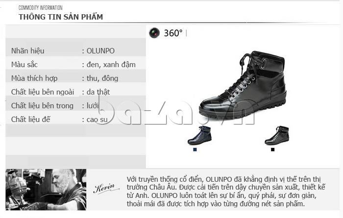 Giày da nam Olunpo DHT1443 đẹp