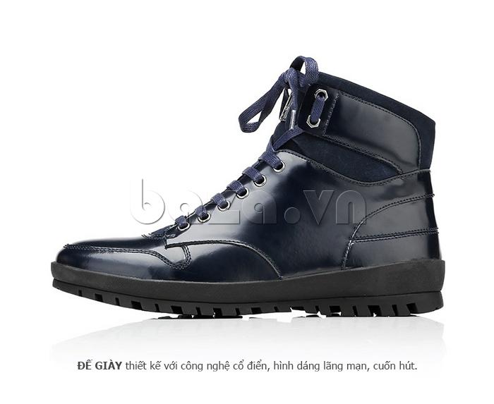 Giày da nam Olunpo DHT1443 màu xanh đen đẹp
