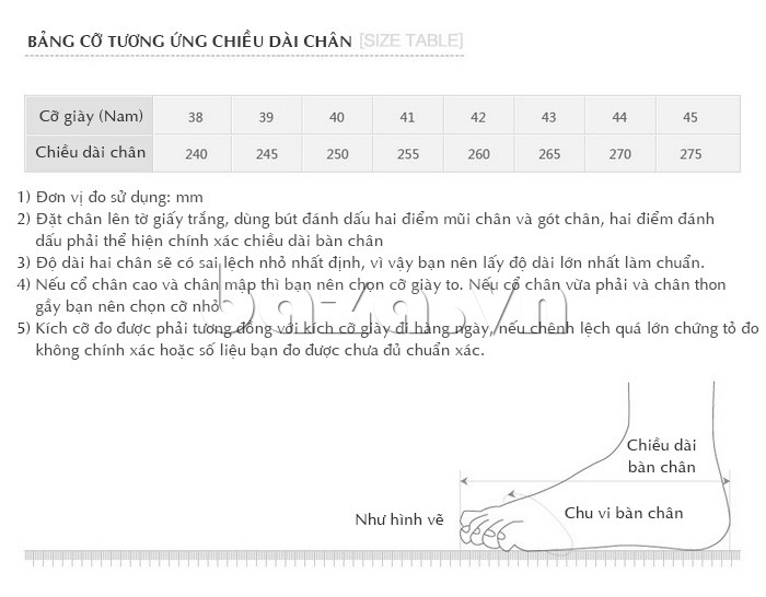 Giầy da nam Olunpo QABA130 có nhiều size cho bạn lựa chọn