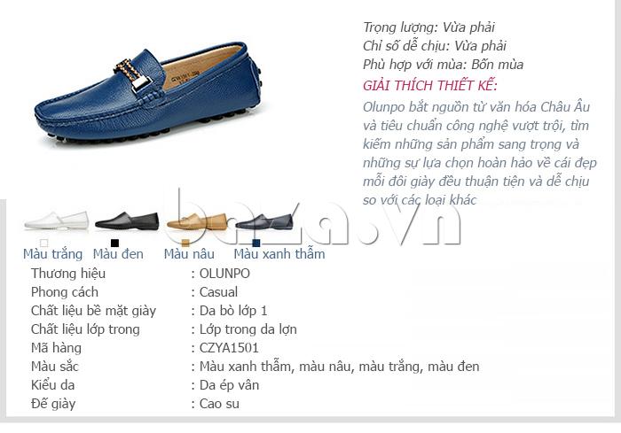 Giải thích thiết kế của Giày lười nam thời trang Olunpo CZYA1501