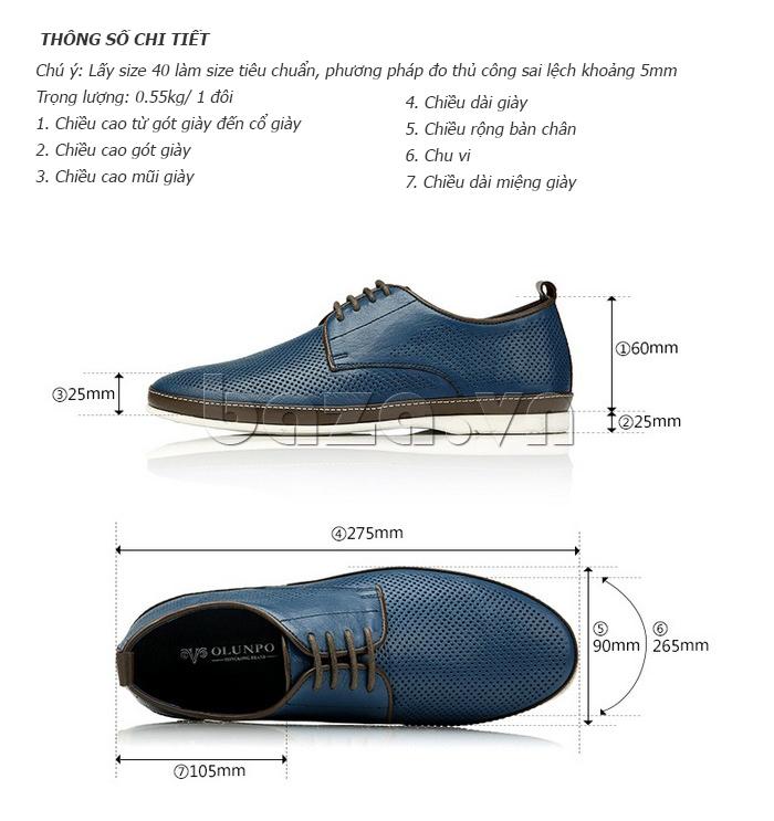 Kích thước của Giày da nam đục lỗ thời trang Olunpo XBS1501