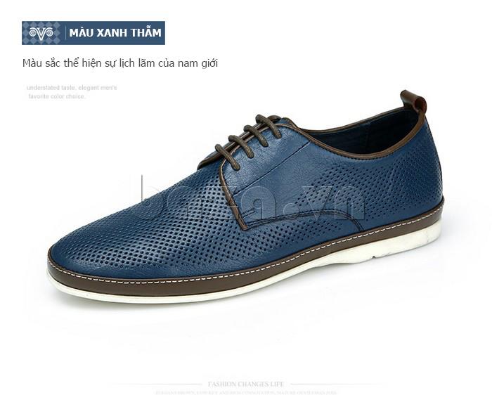 Giày da nam đục lỗ thời trang Olunpo XBS1501 màu xanh thẫm
