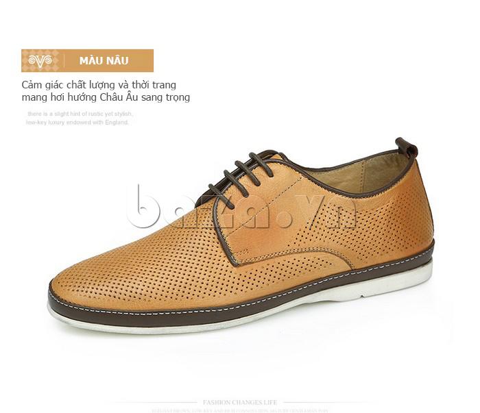 Giày da nam đục lỗ thời trang Olunpo XBS1501 màu nâu
